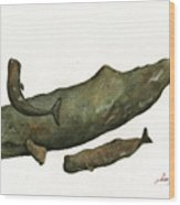 Sperm Whales Family Wood Print