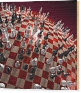 Spherical Chess Board World Wood Print