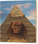 Sphinx And Pyramid Of Khafre Wood Print