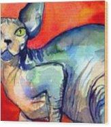 Sphynx Cat 6 Painting Wood Print