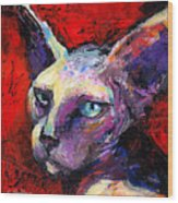 Sphynx Sphinx Cat Painting  Wood Print