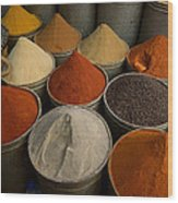 Spices For Sale In Souk, Fes, Morocco Wood Print