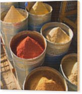 Spices In Marrakesh Morroco Wood Print