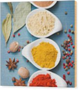 Spices On Blue   Wood Print