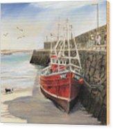 Spiddal Harbour Wood Print by Vanda Luddy