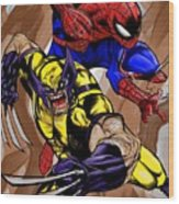 Spider And The Wolverine Wood Print