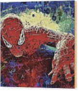 Spiderman Climbing  Wood Print