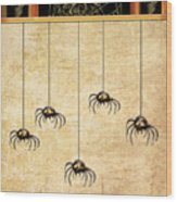 Spiders For Halloween Wood Print