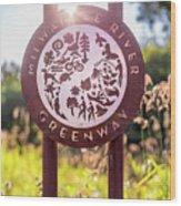 Spiderweb On Milwaukee River Greenway Sign Wood Print