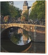 Spiegelgracht Canal In Amsterdam. Netherlands. Europe Wood Print