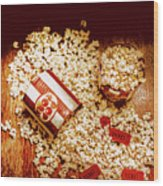 Spilt Tubs Of Popcorn And Movie Tickets Wood Print