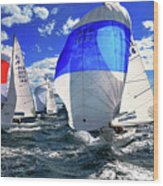 Spinnakers And Sails By Kaye Menner Wood Print