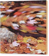 Spinning Leaves Of Autumn Wood Print