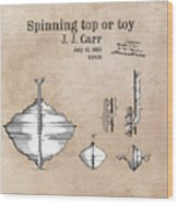 Spinning Top Or Toy Patent Art Wood Print