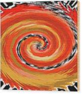 Spiral Of Fire Wood Print