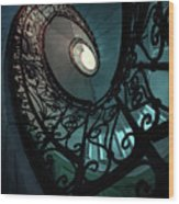 Spiral Ornamented Staircase In Blue And Green Tones Wood Print