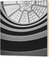 Spiral Staircase And Ceiling Inside The Guggenheim Wood Print by Sami Sarkis