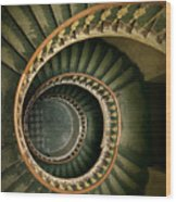 Spiral Staircase  In Green And Yellow Wood Print