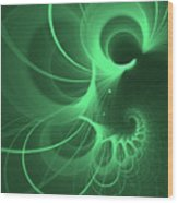 Spiral Thoughts Green Wood Print
