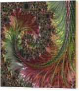 Spiralling Fractal One Wood Print