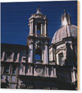 Spire And Cupola St Agnese In Agone Piazza Navona Rome Italy Wood Print