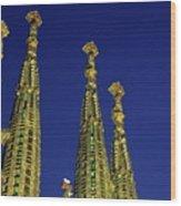 Spires Of The Sagrada Familia Cathedral At Dusk Wood Print