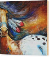 Spirit Indian Warrior Pony Wood Print by Marcia Baldwin