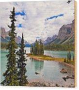 Spirit Island View Alberta Canada Wood Print