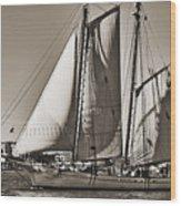 Spirit Of South Carolina Schooner Sailboat Sepia Toned Wood Print by Dustin K Ryan