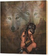 Spirit Of The Wolf 02 Wood Print