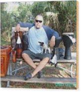Spiritual Drummer And His Dog Wood Print