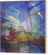 Spiritual Rising At Sunset Wood Print