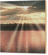 Spiritual Sunset Above A Mountain Lake Wood Print