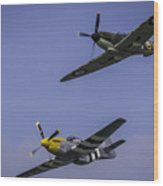 Spitfire And Mustang Wood Print