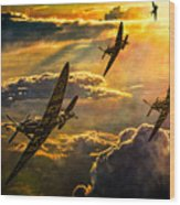Spitfire Attack Wood Print by Chris Lord