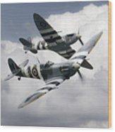 Spitfire Flying Legends Wood Print