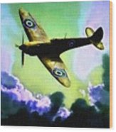 Spitfire In The Clouds H B Wood Print