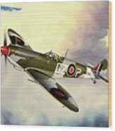 Spitfire Wood Print by Marc Stewart