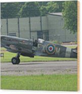 Spitfire On The Ground Wood Print