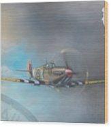 Spitfire Postage Stamp Wood Print by Riek  Jonker