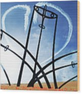 Spitfire Sentinel In The Field Of Poppies  Wood Print by Eugene James