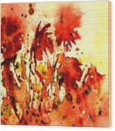 Splash Of Red Wood Print