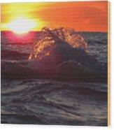 Splash - Sunset On Lake Huron Wood Print