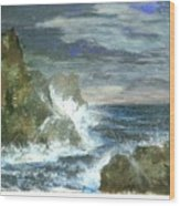 Splashes Of Ocean Waves Wood Print