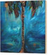 Splashy Palm Azure Wood Print