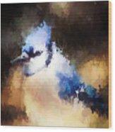 Splatter Art - Blue Jay Wood Print