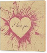 Splattered Love Wood Print