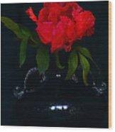 Splendid Peony In Vase. Wood Print