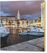 Split Harbor Night View In Croatia Wood Print
