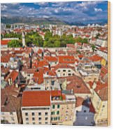 Split Old City Center Aerial View Wood Print